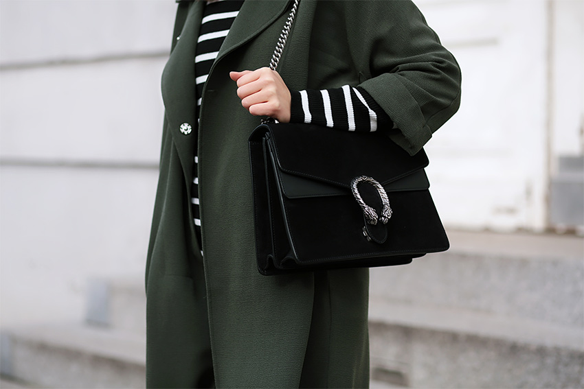 gucci dionysus black outfit 3 Olive Trench and Gucci Dionysus
