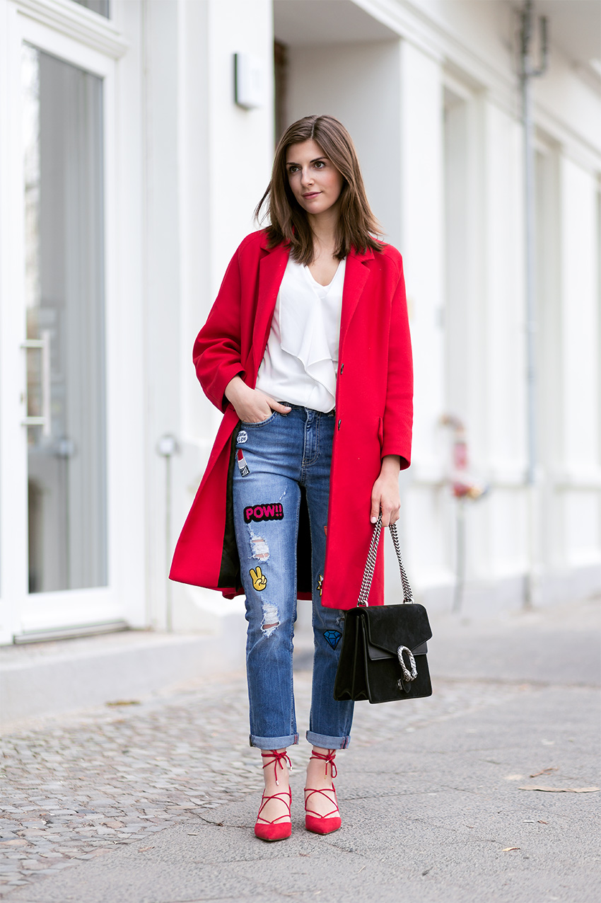 Red Coat, Patched Jeans and Lace Up Heels - Simple et Chic ...