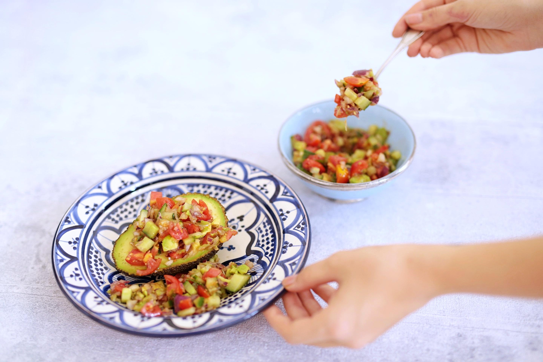 Vegan on a Budget: Salsa-stuffed Avocado