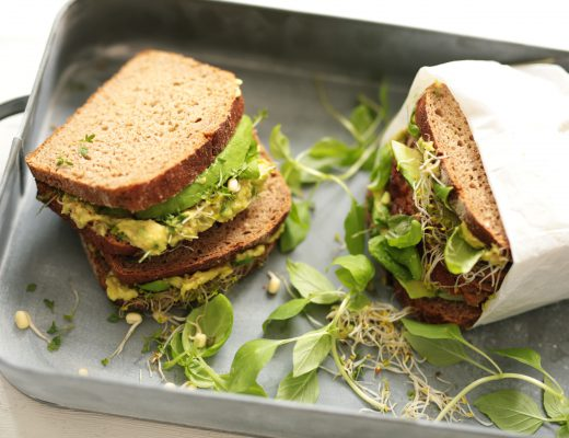 Avocado and Basil Sandwich