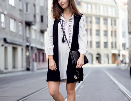 Black Vest and Boho Dress