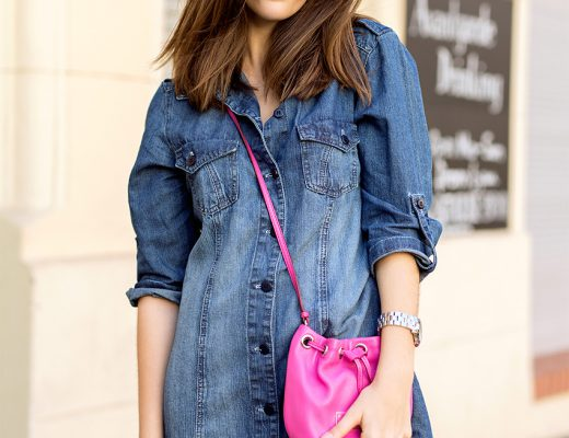 Denim Dress and pink bucket bag