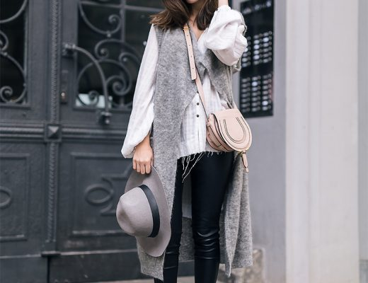 Grey Wool Vest and Leather Pants