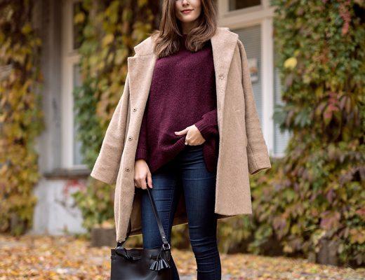 camel coat burgundy knit 4