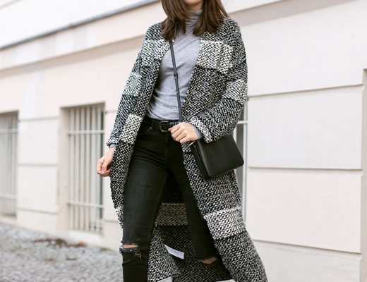 pattern coat black jeans 1