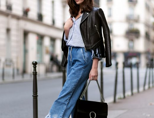 Denim Culottes and Fringed Leather Jacket