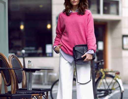 Spring Fling White Culottes and Pink Pullover