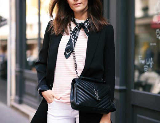Stripes and Lace-up Ballet Flats in Paris