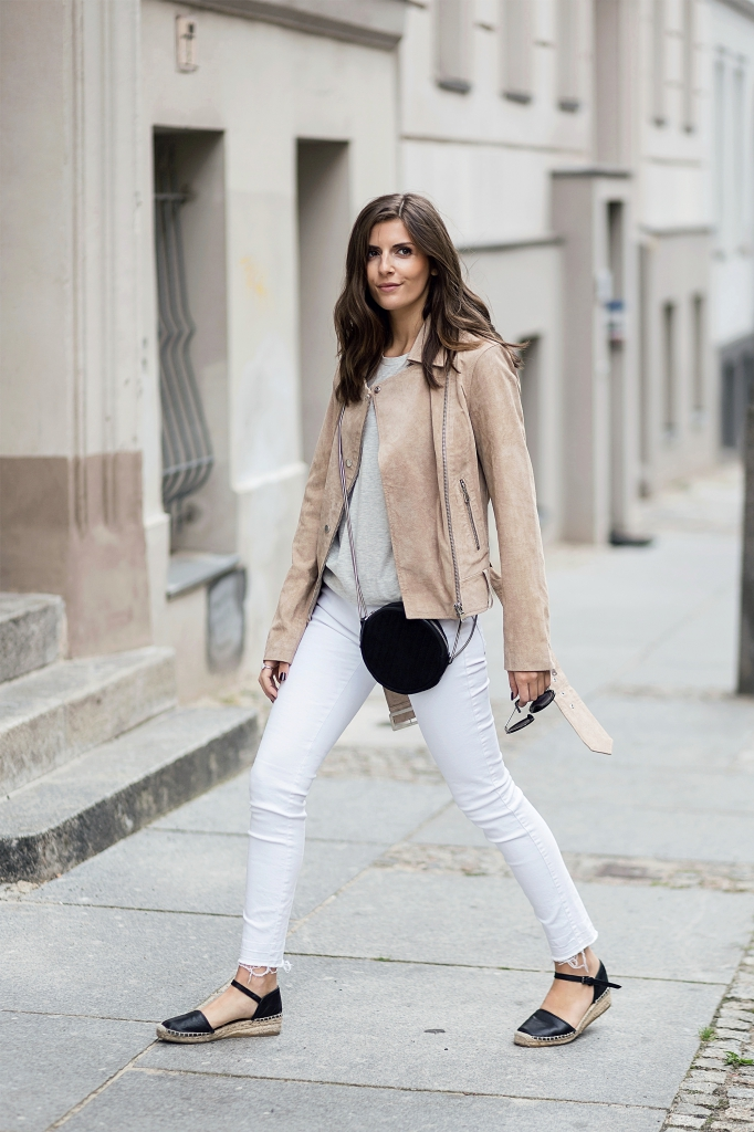 Nude Leather Jacket and white Jeans